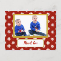 Christmas snowflakes red thanks for gifts photo announcement postcard