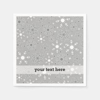 Christmas snowflakes silver grey pattern paper napkin