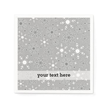 Professional Business Christmas snowflakes silver grey pattern paper napkin