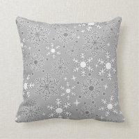 Christmas snowflakes silver grey pattern throw pillow