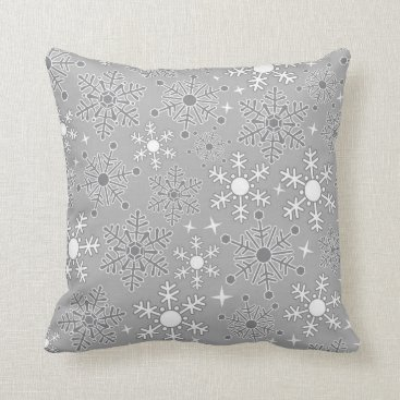 Professional Business Christmas snowflakes silver grey pattern throw pillow
