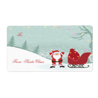 Christmas snowing + Santa sleigh gift tags