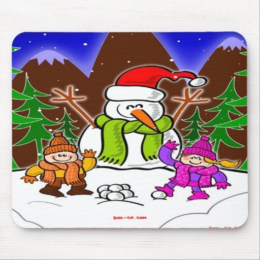 Christmas Snowman and Children Mousepad
