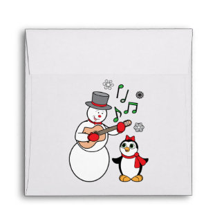 Christmas Snowman and Penguin Matching Envelope