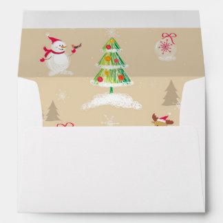 Christmas snowman and reindeer pattern envelope