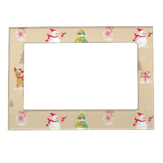 Christmas snowman and reindeer pattern photo frame magnet