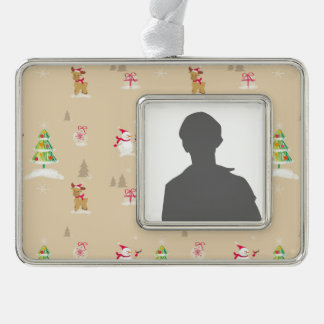 Christmas snowman and reindeer pattern ornament