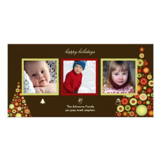 Christmas, snowman and santa tree photo cards