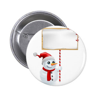 Christmas Snowman and Sign Button