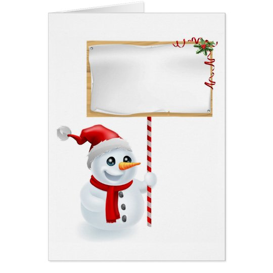 Christmas Snowman and Sign Card