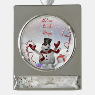 Christmas Snowman Believe in the Magic Winter Silver Plated Banner Ornament