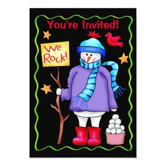 Christmas Snowman Black Party Event Invitation