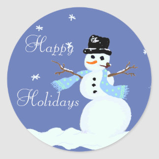 Christmas Snowman Blue Stickers