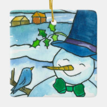 Christmas Snowman Bluebird Snowflakes Ceramic Ornament