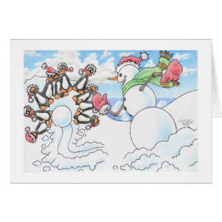 Christmas Snowman Bowler Greeting Cards