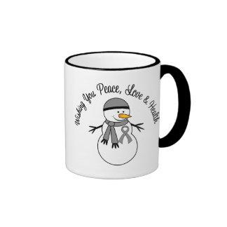 Christmas Snowman Brain Cancer Ribbon Coffee Mug