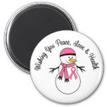 Christmas Snowman Breast Cancer Ribbon 2 Inch Round Magnet