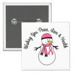 Christmas Snowman Breast Cancer Ribbon Button
