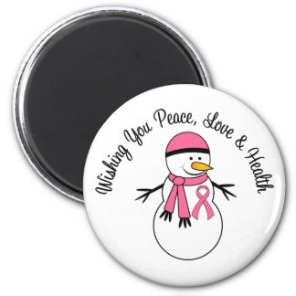 Christmas Snowman Breast Cancer Ribbon Magnets