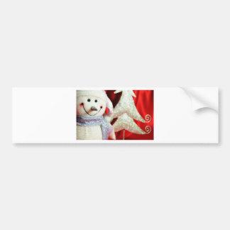 Christmas snowman bumper sticker