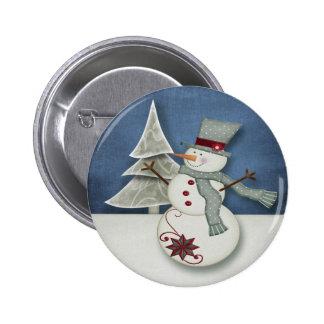 Christmas Snowman Button