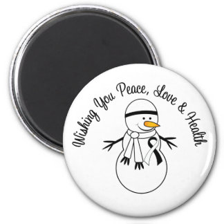 Christmas Snowman Carcinoid Cancer Ribbon 2 Inch Round Magnet