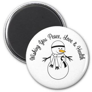 Christmas Snowman Carcinoid Cancer Ribbon Fridge Magnets