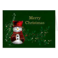 Christmas Snowman Card at Zazzle