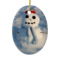 Christmas Snowman Ceramic Ornament