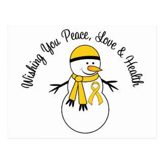 Christmas Snowman Childhood Cancer Ribbon Postcard