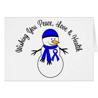 Christmas Snowman Colon Cancer Ribbon Greeting Card