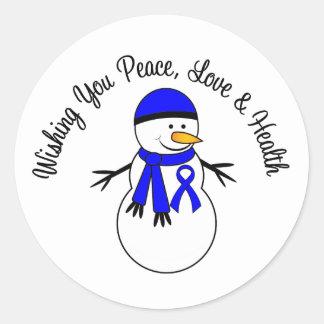 Christmas Snowman Colon Cancer Ribbon Classic Round Sticker