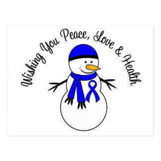 Christmas Snowman Colon Cancer Ribbon Postcard