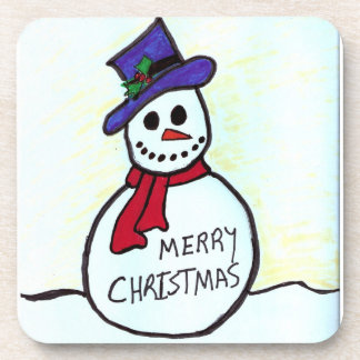Christmas Snowman Cork Coaster