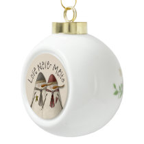Christmas Snowman Couple Ceramic Ball Christmas Ornament