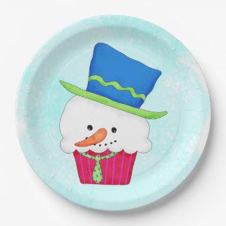 Christmas Snowman Cupcake Art Dessert Party Paper Plate