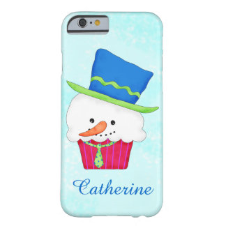 Christmas Snowman Cupcake Art Name Personalized Barely There iPhone 6 Case