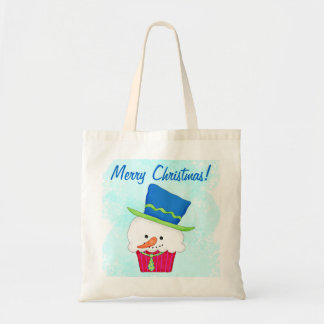 Christmas Snowman Cupcake Art Reusuable Shopping Tote Bag