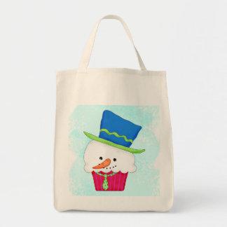 Christmas Snowman Cupcake Art Tote Bag