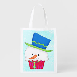 Christmas Snowman Cupcake Art Whimsy Gift Grocery Bag