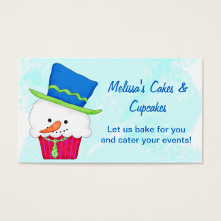 Christmas Snowman Cupcake Catering Baking Business Card