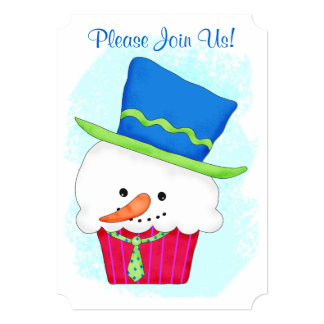 Christmas Snowman Cupcake Coffee Dessert Party Card
