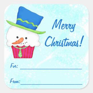 Christmas Snowman Cupcake Gift Label