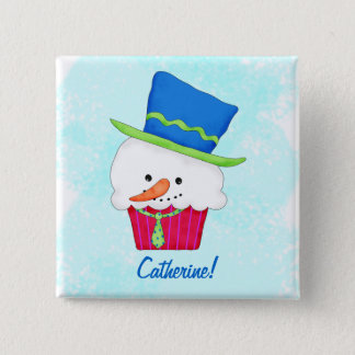 Christmas Snowman Cupcake Name Badge Personalized Pinback Button