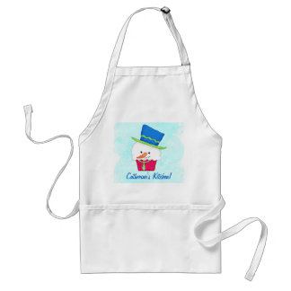 Christmas Snowman Cupcake Name Personalized Adult Apron