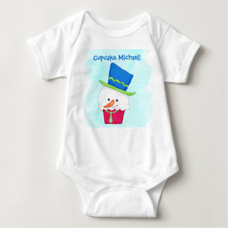 Christmas Snowman Cupcake Name Personalized Baby Bodysuit