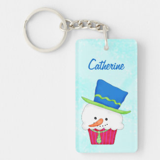 Christmas Snowman Cupcake Name Personalized Double-Sided Rectangular Acrylic Keychain