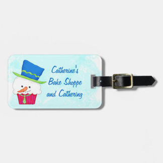 Christmas Snowman Cupcake Name Personalized Luggage Tag