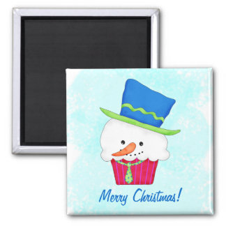 Christmas Snowman Cupcake Name Personalized Magnet