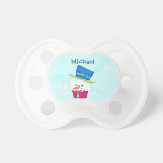 Christmas Snowman Cupcake Name Personalized Pacifier